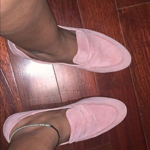 Pink suede loafers